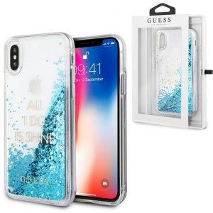 Brokatowe Etui Guess Liquid Glitter do Apple iPhone XS / X (niebieskie)