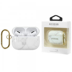 Etui Guess Marble Collection Apple Airpods Pro whi